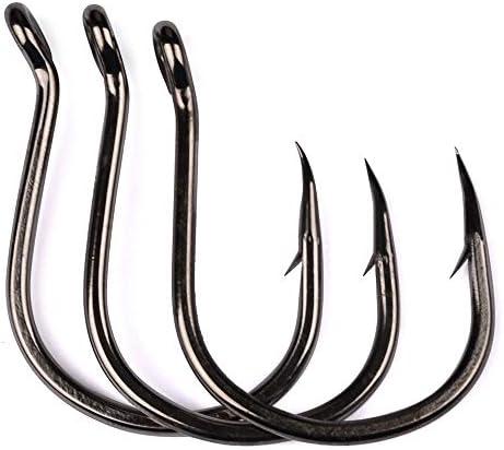 100pcs Fishing Hooks Jig Big Hook  1-6//0# Hi-Carbon Steel Bait Holder Fishhook