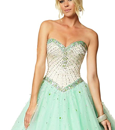 Elley Women's Sweetheart Crystals Bodice 2017 Retro Sweet Sixteen Tulle Debutante Party Prom Gown for Teens Lemon -