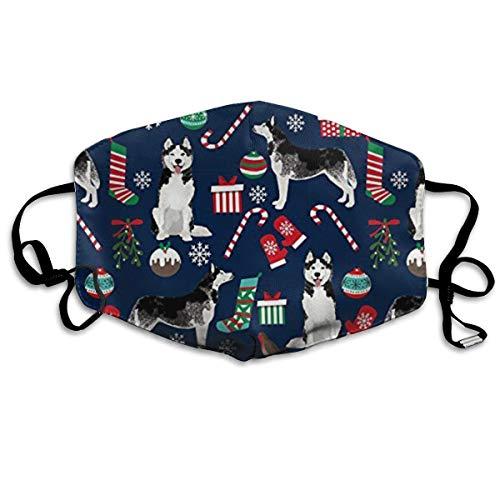 Cute Siberian Husky Christmas Dog Face Masks Breathable Dust Filter Masks Mouth Cover Masks Elastic Ear Loop