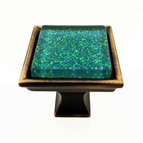 - Modket M3-AE147-ORB Sparkling Emerald Green Sand Crystal Glass Oil Rubbed Bronze Madison Classic Knob