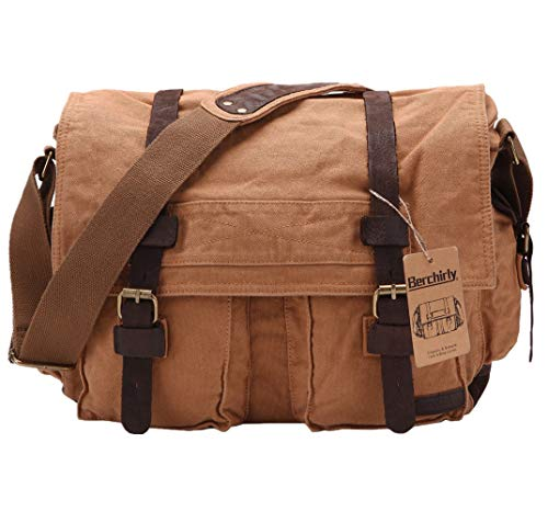 Berchirly Vintage Military Men Canvas Messenger Bag for 13.3-17'Laptop