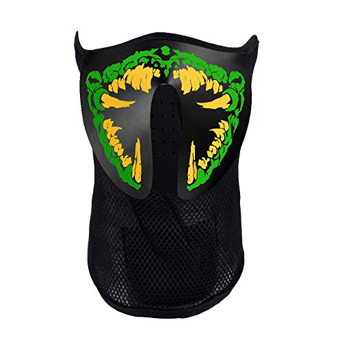 Music Party Led Mask, Festival Costumes Light Up Mask Sound Activated (Sharp Teeth) Green -
