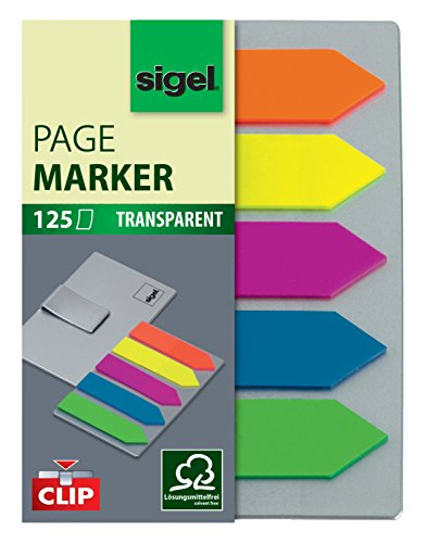 Sigel HN611 Arrow Page Markers, Sticky Flags, Index Tab Flags, Film, removable, with sticky tip and transparent non-adhesive strip for notes, 0.47 x 1.97 in, 125 strips on a board with clip function - Free Arrow Flag
