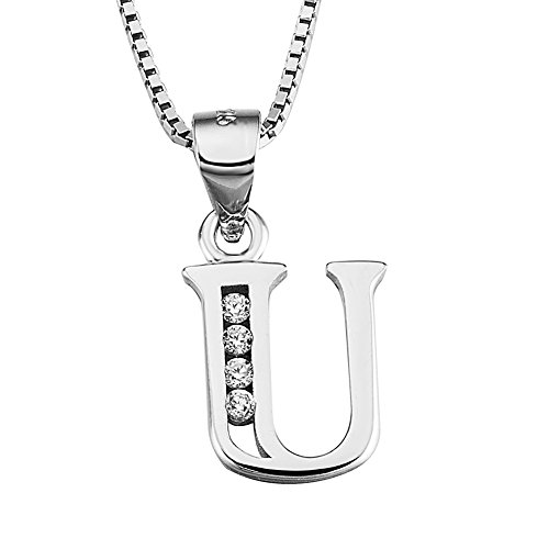 - YFN S925 Sterling Silver Cubic Zirconia 26 Letters Alphabet Personalized Charm Pendant Necklace (Alphabet U)