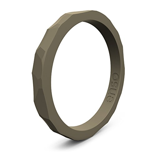 Enso Silicone Ring/Wedding Band. Hammered Design for Men and Women Color: Stone. Size: 3 ()
