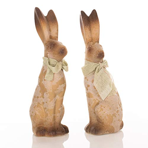 Small Sitting Bunny Mint Green 9 x 3 Terra Cotta Easter Figurines Set of 2