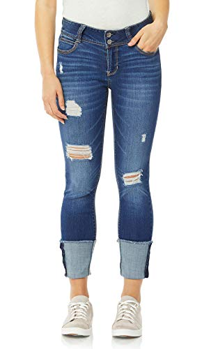 (WallFlower Women's Juniors Luscious Curvy Deep Cuff Ankle/Capri Jeans in Ezra, 5)