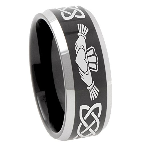 8mm Irish Claddagh Tungsten Glossy Black Bevel Polish Edges Free Engrave Wedding Ring Size 10.5