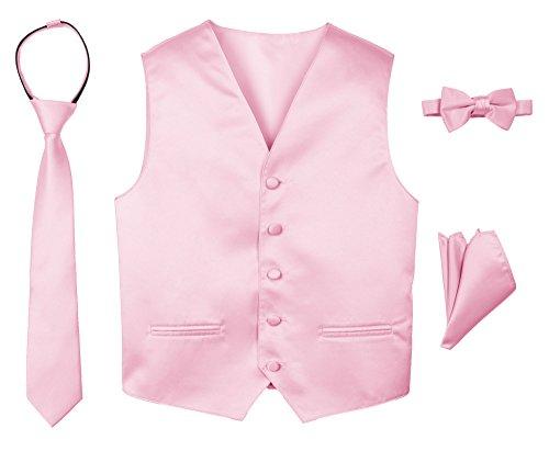 Satin Strap Vest - Spring Notion Boys' 4-Piece Satin Tuxedo Vest Set 14 Pink