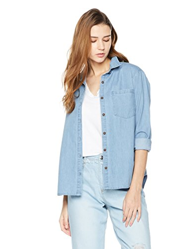 Lily Parker Women's Basic Long Sleeve Button Down Denim Shirt Medium Light (Button Down Jeans)
