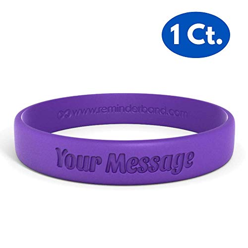 Reminderband Classic Custom 100% Silicone Wristband - Personalized Silicone Rubber Bracelet - Customized, Events, Gifts, Support, Causes, Fundraisers, Awareness - Men, Women, Kids ()