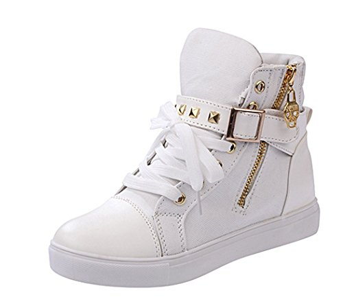 Maybest Women's Autumn Rivets High-top Casual Canvas Shoes White 8 B(M) - Buckle Cody