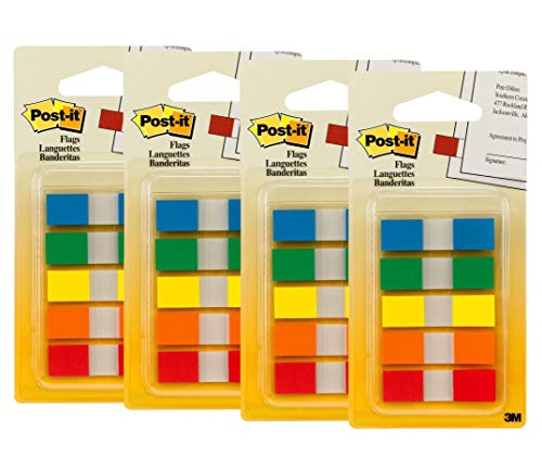 Post-it Flags with On-The-Go Dispenser, Assorted Primary Colors, 1/2-Inch Wide, 100/Dispenser, Pack of 4]()