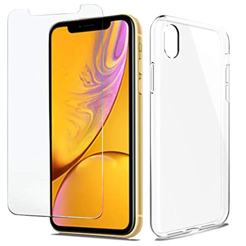 Husky iPhone XR Clear Case with Free Tempered Glass Screen Protector | Transparent iPhone XR Case Clear - Thin Light Anti-Scratch Protection for Apple iPhone XR Cases [Free iPhone XR Screen Protector]