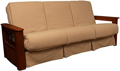 Style Perfect Sit & Sleep Pocketed Coil Inner Spring Pillow Top Sofa Sleeper Bed, Queen-size, Mahogany Arms, Microfiber Suede Khaki Upholstery (Mahogany Futon Frame)