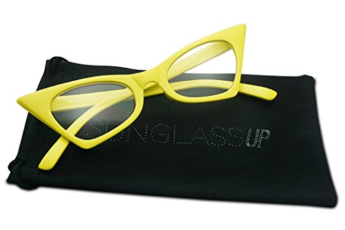 1950's Retro Vintage High Pointed Colorful Clear Lens Geometric Cat Eye Glasses Non-Prescription (Yellow, Clear)