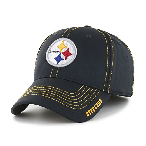 OTS NFL Pittsburgh Steelers Start Line Center Stretch Fit Hat, Black, Large/X-Large