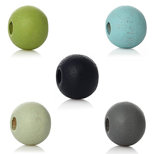 Souarts Mixed Color Round Ball Shape Wood Wooden Loose Beads for DIY Jewelry Making 6mm Pack of 1000