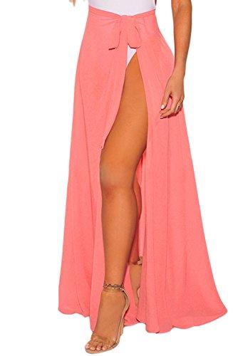 - VINKKE Womens Chiffon Long Beach Sarong High Waist Cover up Maxi Skirt Swimsuit Wrap Coral