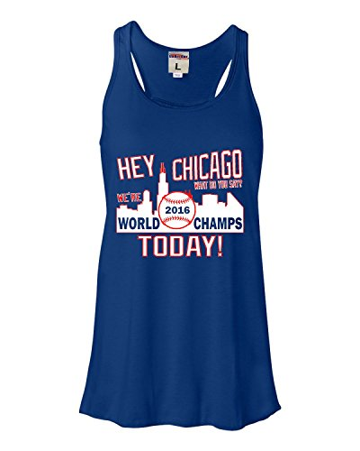 Medium Royal Womens Hey Chicago We're World Champs Today Flowy Racerback Tank Top T-Shirt