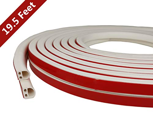 VITAM AMO Weather Stripping Door/Window Seal Strip 19.5 Feet, Soundproof Design Self-Adhesive Backing Seals Medium Gap from 0.13'' to 0.23'', Easy Cut to Size (#301Medium)