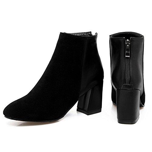 COOLCEPT Damen Western Blockabsatz Dress Stiefel Back Zipper Plus Size Black