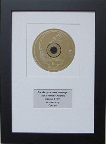 - Cd Disc Frame with Personalized Message White Mat Design and Solid Wood Black Frame