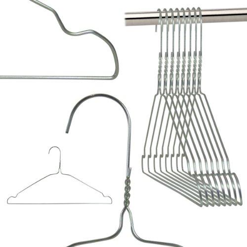 100 VERZINKTE Draht-Kleiderbügel - mit Einkerbungen - für den Hausgebrauch, Chemische Reinigung, Einzelhandel