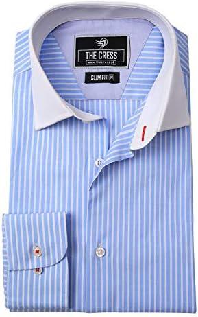 SAMA Brands - Camisa de Corte Regular de Rayas Azul Cielo ...