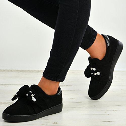 Studs Bow Scarpe On Diamante Taglie Slip Da Womens New Pearl Fashion Ladies Sneakers Nero Cucu Ginnastica XIzqBf7B