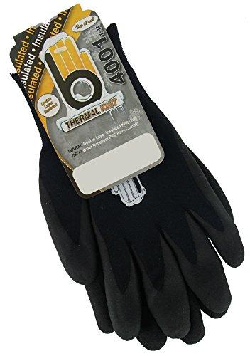 Bellingham C4001BKM Insulated Thermal Knit Work Glove, HPT PVC Water Repellent Palm, Medium, Black