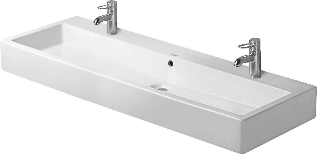"Duravit 0454120024 Vero 47-1/4"" Ceramic Bathroom Sink for Vanity or Wall Mounted, White"