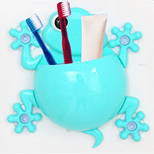 Kikkios Creative Cute Lovely Cartoon Animal Wall Stick Mount Climbing Gecko Toothbrush Toothpaste Makeups Tool Pencil Hanging Holder Suction Cup Kids Bathroom Office Organizer Decor - Blue (1pc)