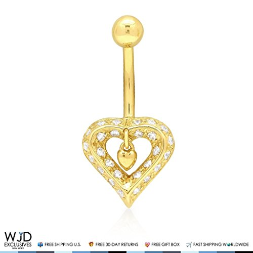 Gold Dangle Heart Belly (14K Yellow & White Gold CZ Dangle Heart Navel Belly Button Ring, Yellow)