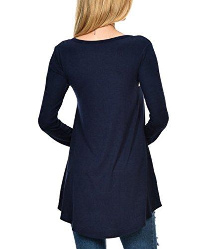 YiLianDa Las Mujeres Floral de Empalme de Impresión Ronda de Manga Larga Blusa de Cuello Camiseta Azul