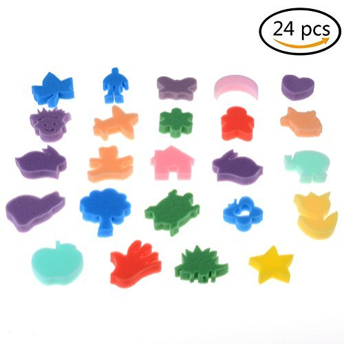 24 Pcs Painting Sponges Shapes, Cute Animal Shapes Foam Painting Stamps Multicolors Crafts Sponge for Kids CosCosX