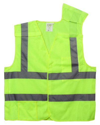 - Cordova Safety Products Class II 5-Point Breakaway Safety Vest with Pockets and Silver Reflective Tape - X-Large - Lime