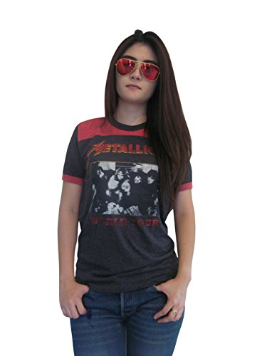 Bunny Brand Women's Metallica Concert World Tour Ringer T-Shirt Jersey Thin Soft (Small) by BUNNY BRAND