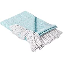 """DII Rustic Farmhouse Throw Blanket with Decorative Tassles, Use For Chair, Couch, Bed, Picnic, Camping, Beach, & Just Staying Cozy At Home (50 x 60""""), Herringbone Stripe Aqua"""