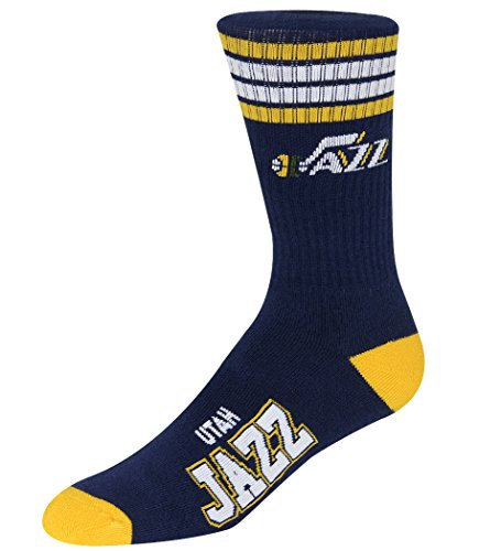 fan products of For Bare Feet NBA 4 Stripe Deuce Crew Men Socks-Utah Jazz-Large (10-13)