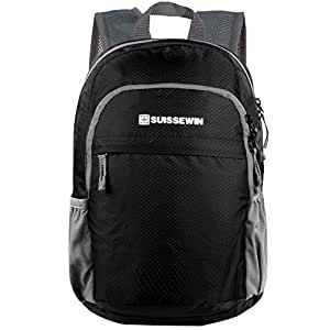 Suissewin Packable Lightweight Backpack Water Resistant Foldable Travel Hiking Daypack (Black)