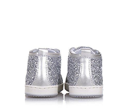 BALOCCHI - Silberner Schuh mit Schnürsenkeln, aus Glitzern, aus hochwertigen natürlichen Materialien, Mädchen