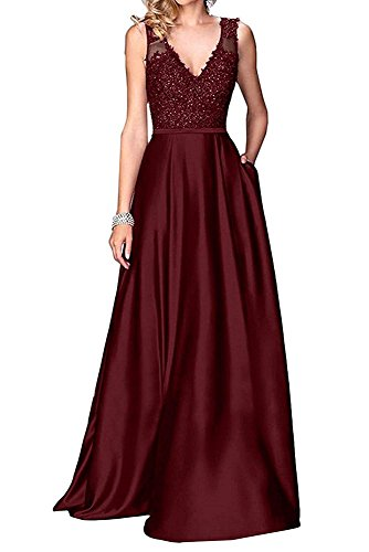 Jdress Women's Long A Line Satin Prom Dresses 2019 V Neck Evening Formal Gown Burgundy ()