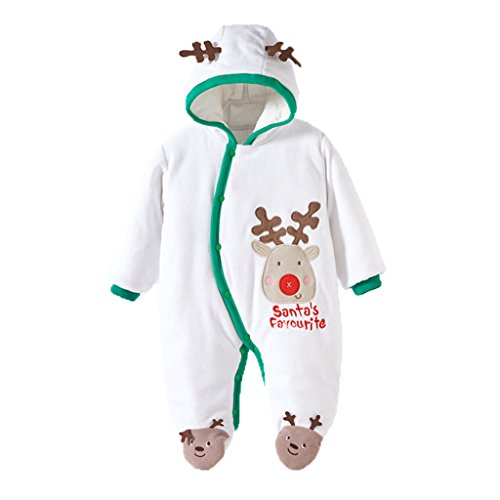 Vine Xmas Christmas Santa Claus Costume Outfit Boys Baby Children Footed Romper Warm Outwear White (Childrens Santa Costume Pattern)