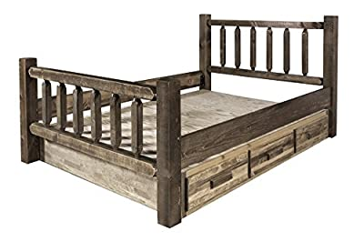 Homestead Collection Queen Bed with Storage, Stain and Lacquer Finish