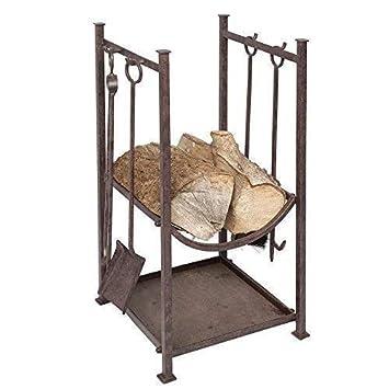 tamaño Estufa Conjunto Con Tina de madera CHIMENEA HIERRO 4 piezas y soporte: Amazon.es: Hogar