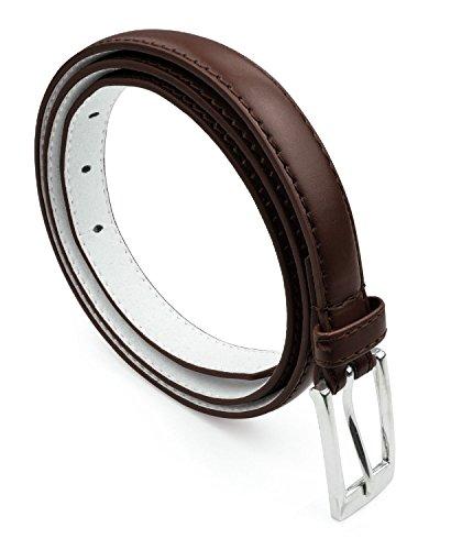 Women Skinny PU Leather Dress Belt Polished Buckle Belle Donne - Brown ()