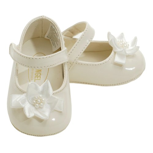 Angel Baby Girls 4 Cream Patent Flower Accent Dress Shoes