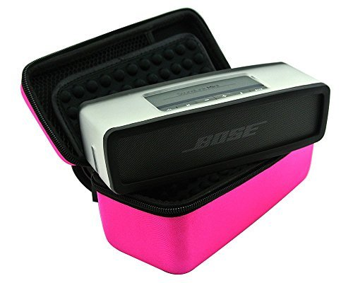 3C-LIFE Hard Case Travel Carry Bag for Bose Soundlink Mini Bluetooth Portable Wireless Speaker 1 I / 2 II and Wall Charger and Charging Cradle / Fits Bose Silicone Soft Cover-pink