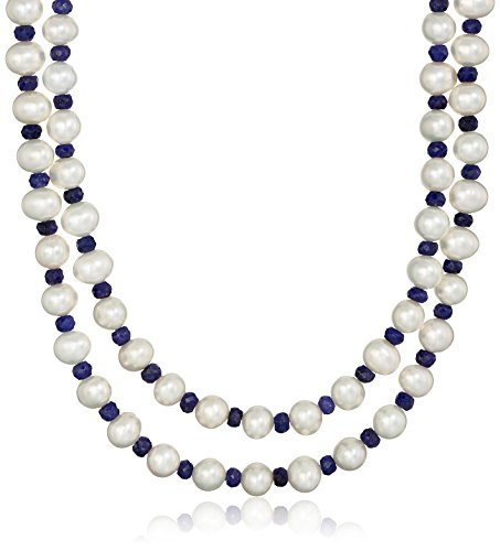 7-7.5mm White Cultured Freshwater Pearl with 4-5mm Blue S...